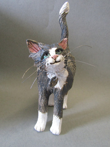 Standing Cat hand-sculpted by Emily Stracey