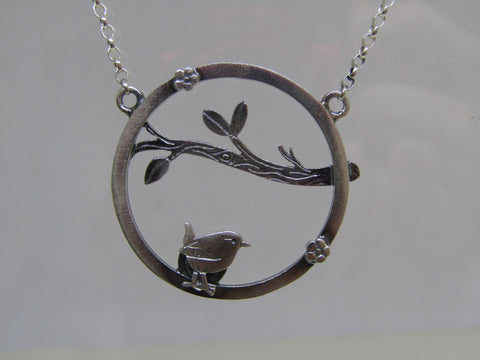 Wren, twig, blossom scene necklace by Katie Stone