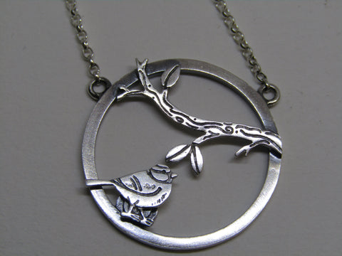 Blue tit, branch scene necklace by Katie Stone