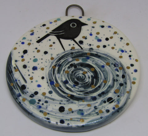 Round Ceramic Wall Hanging by Karen Risby