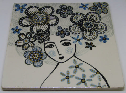 Large Lustre Ceramic Tile by Karen Risby
