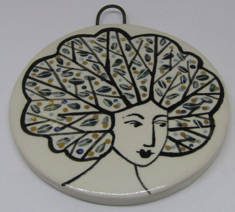 Round Lustre Ceramic Wall Hanging by Karen Risby