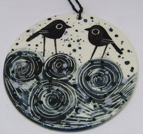 Round Porcelain Wall Hanging by Karen Risby