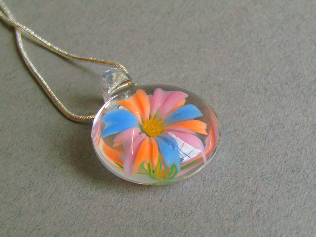 Pastel Pink Orange and Blue Glass 3D Flower Pendant