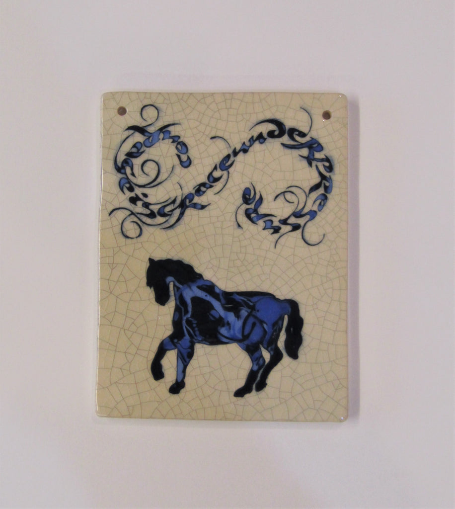 "Horse Design Rectangular Ceramic Tile ""Courage is Grace Under Pressure""."