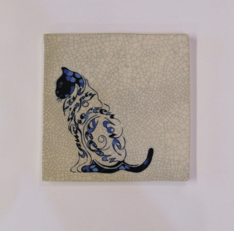 "A Sitting Cat Design Square Ceramic Tile, Trivet ""Live Simply. Laugh Often. Love Deeply""."