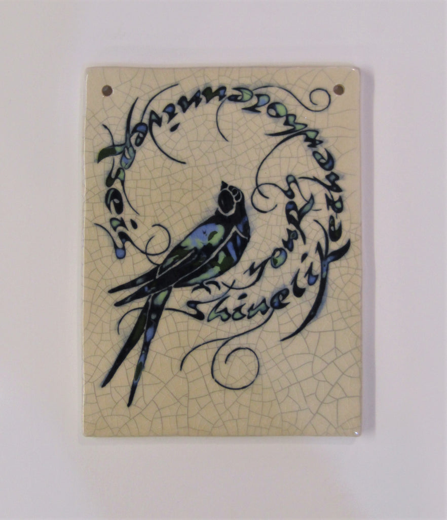 "Swallow Design Rectangular Ceramic Tile ""Shine Like the Whole Universe is Yours""."