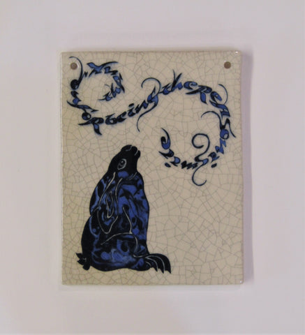 "Gazing Hare Design Rectangular Ceramic Tile ""Thank You for Being the Reason I Smile""."