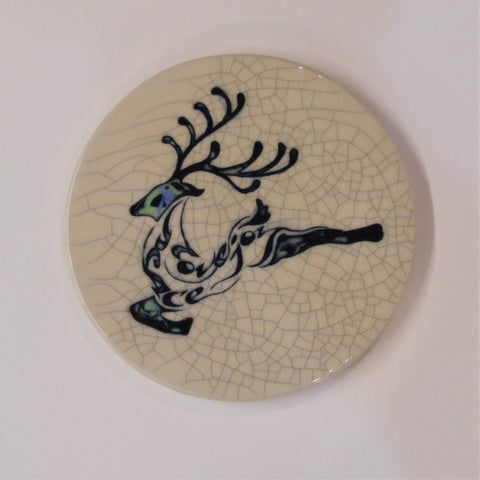 "Reindeer Design Round Ceramic Tile, Trivet ""Peace. Love. Joy"""
