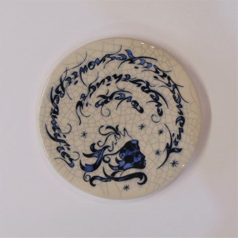 "Snow Queen Design Round Ceramic Tile, Trivet ""Kindness is Like Snow. It Beautifies Everything it Covers"""