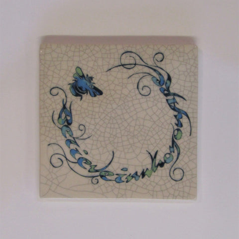 "Bee Design Square Ceramic Tile, Trivet ""Believe in Who You Are"""