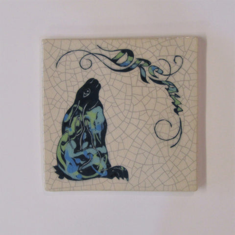"Gazing Hare Design Square Ceramic Tile, Trivet ""Dream"""