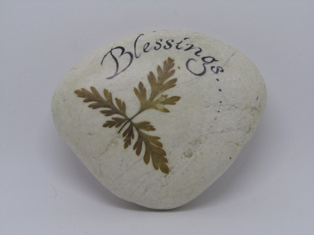 """Blessings..."" Hand Painted Stone by Alexis Penn Carver"