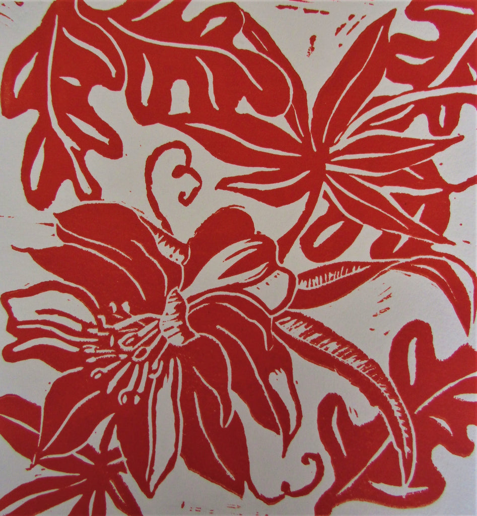 Flower & Leaves in Red