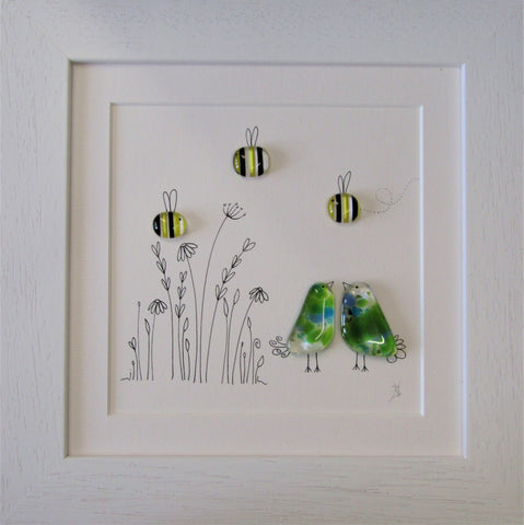 Birds & Bees - Fused Glass and Illustration