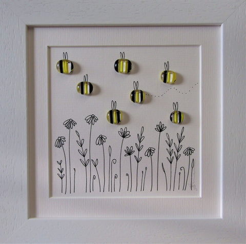 Sweet Bees - Fused Glass and Illustration