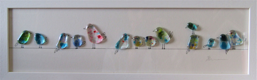 Birds on a Line Fused Glass and Illustration