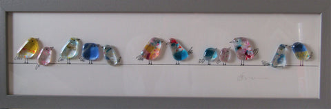 Birds on a Line - Fused Glass and Illustration