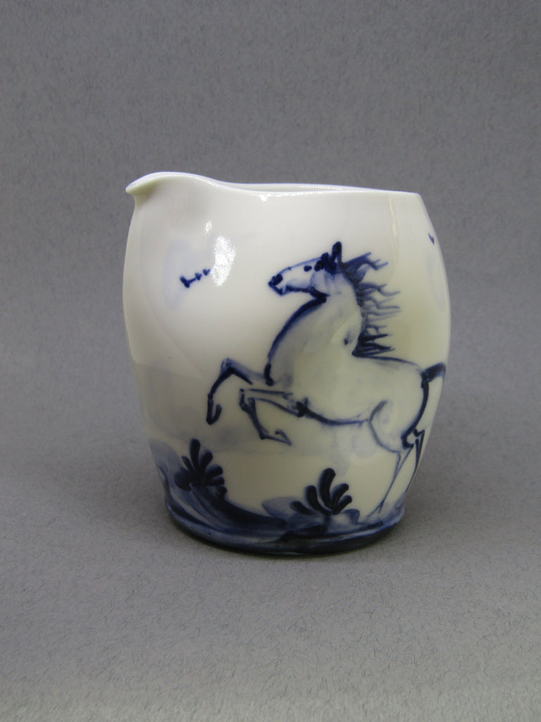 Horse Design Pourer, Hand-Painted Porcelain by Mia Sarosi