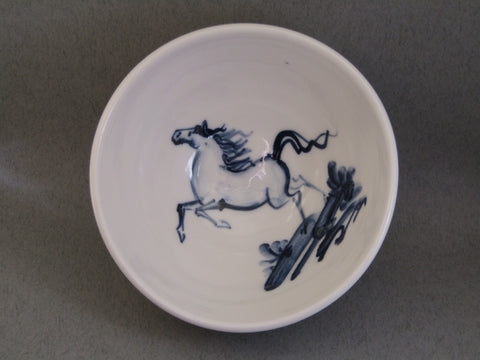 Horse Design Tiny Bowl, Hand-Painted Porcelain by Mia Sarosi