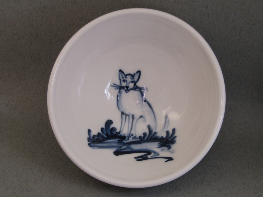 Cat Design Tiny Bowl, Hand-Painted Porcelain by Mia Sarosi