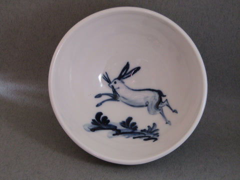 Hare Design Tiny Bowl, Hand-Painted Porcelain by Mia Sarosi