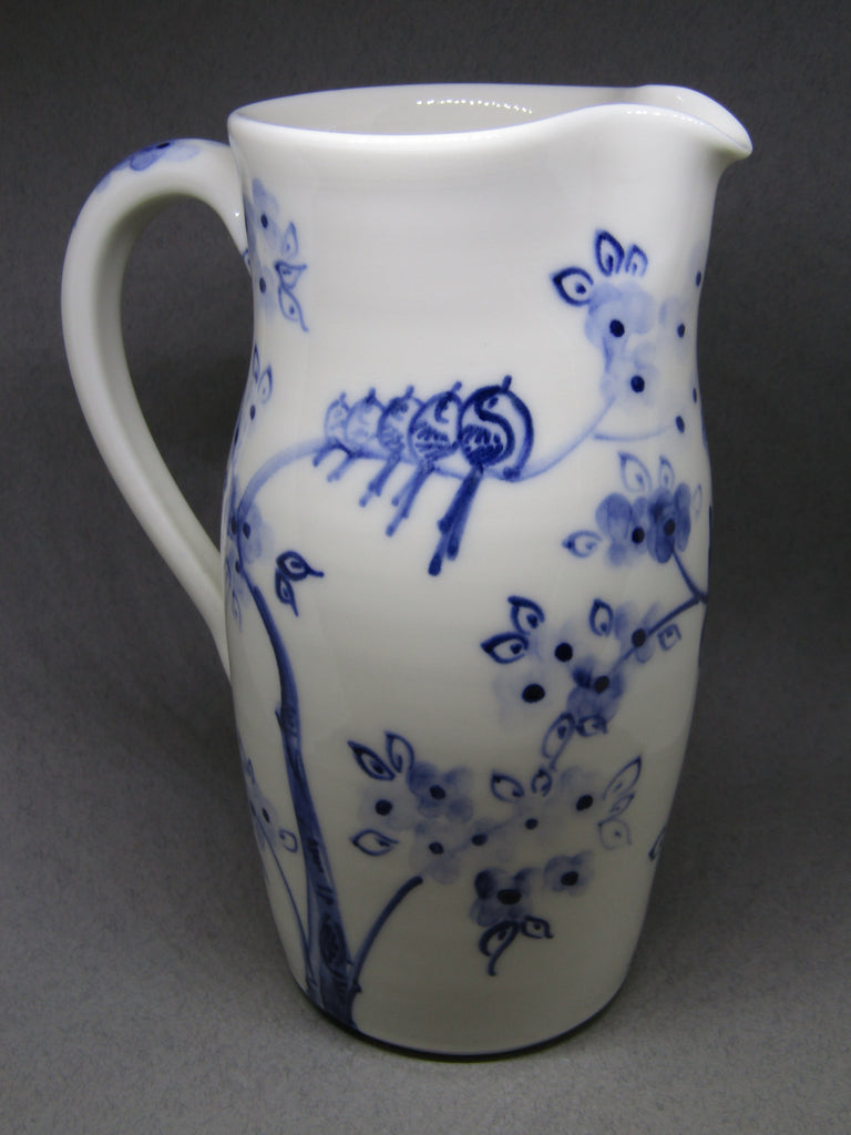 Bird Design Medium Jug Hand-thrown, Hand-Painted Porcelain by Mia Sarosi