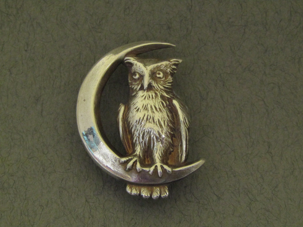 Owl Sitting on a Crescent Moon Brooch