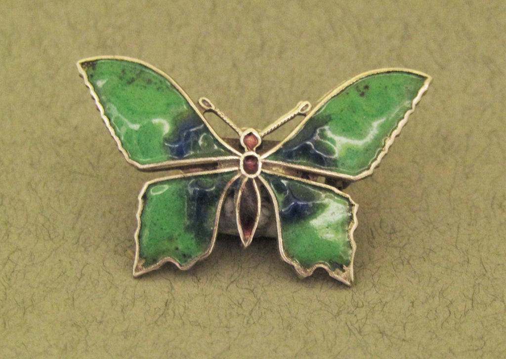 Green Enamel Butterfly Brooch by Jess Lelong