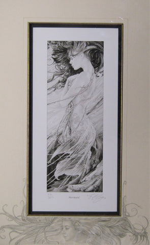 'Mermaid' - print with hand-drawn detailing on mount by Ed Org