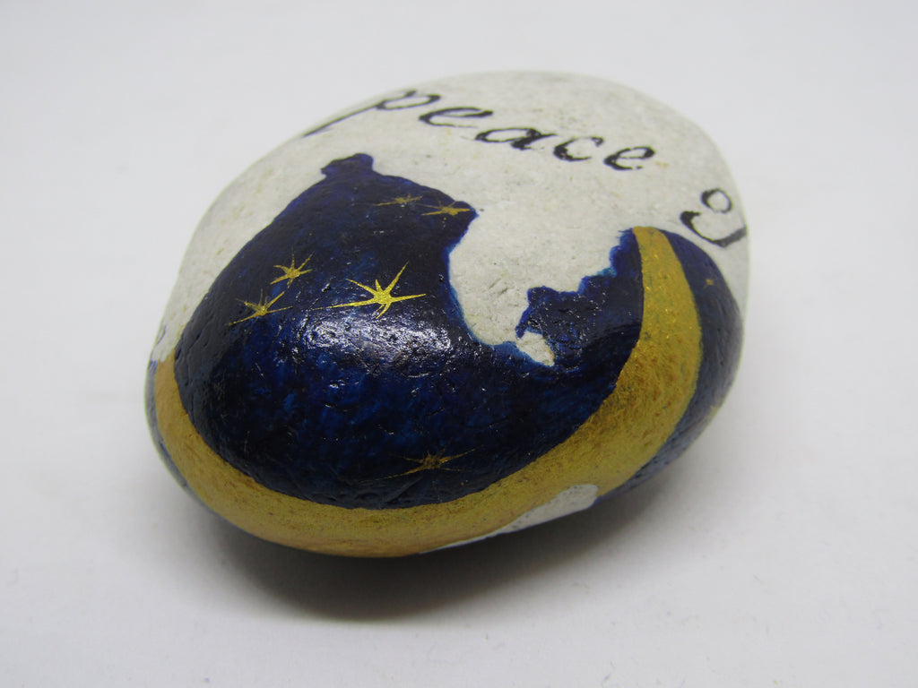 """Deep Peace of the Shining Stars..."" Hand Painted Stone by Alexis Penn Carver"