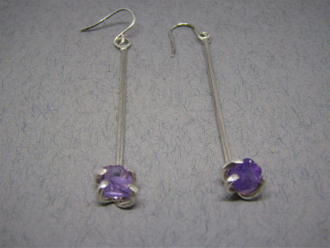 Raw Amethyst Drop Silver Earrings by Caroline Stokesberry-Lee