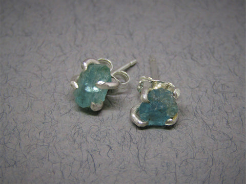 Raw Blue Apatite Stud Silver Earrings by Caroline Stokesberry-Lee