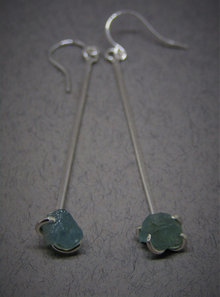 Raw Blue Apatite Drop Siver Earrings by Caroline Stokesberry-Lee