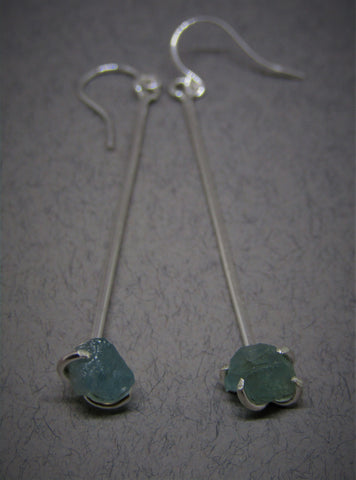 Raw Blue Apatite Drop Silver Earrings by Caroline Stokesberry-Lee