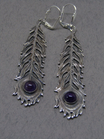 Purple Stone Silver Feather Drop Earrings, Jess Lelong
