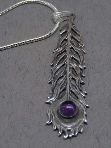 Purple Stone Silver Feather Pendant, Jess Lelong