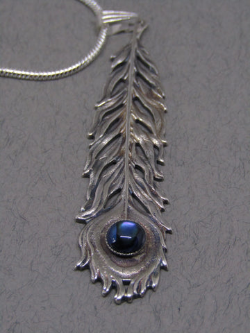Blue Stone Silver Feather Pendant, Jess Lelong