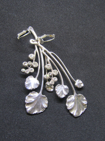 Leaf Design with Diamante Sparkle Drop Earrings