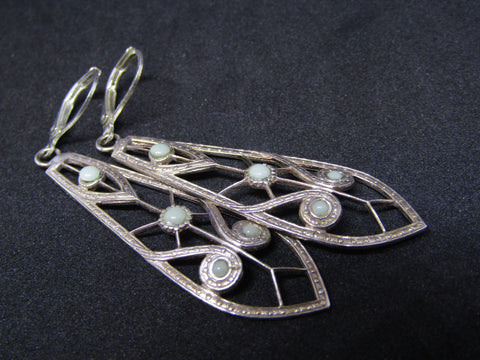 Pale Green and Silver Plated Earrings