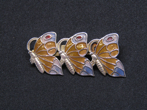 Enamelled Butterflies Brooch