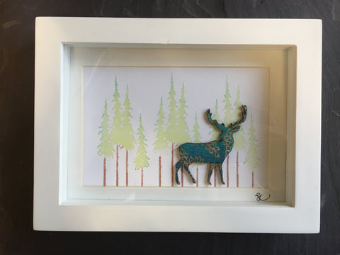 Stag in Forrest Framed Assemblage by Sophie Court