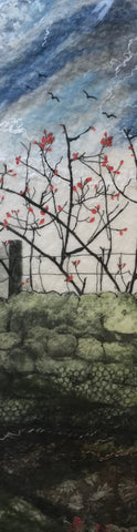 Drystone Wall & Rosehip Bushes by Lindsey Tyson