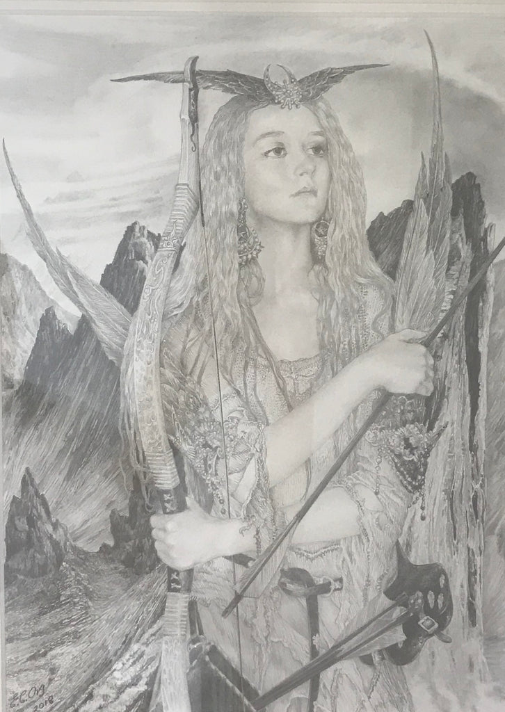 mountain archer original pencil drawing by ed org