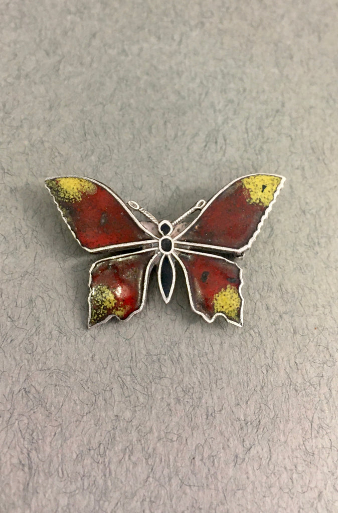 Red and Yellow Enamel Butterfly Brooch by Jess Lelong