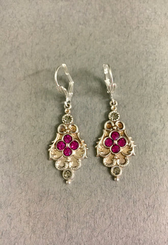 Pink Diamante Earrings by Jess Lelong
