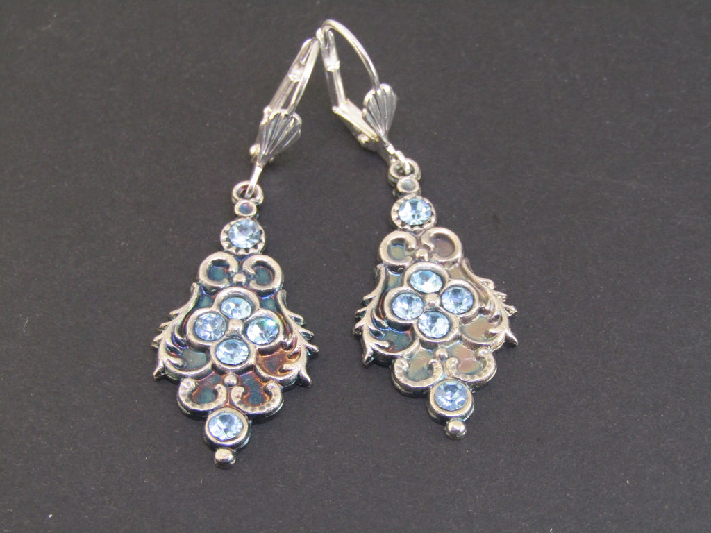 Blue Diamante Earrings by Jess Lelong