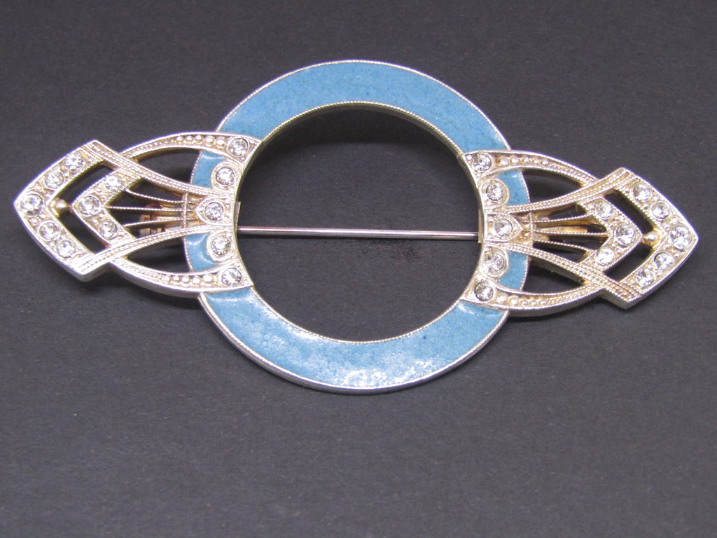 Art Deco style Brooch with Blue Enamel by Jess Lelong