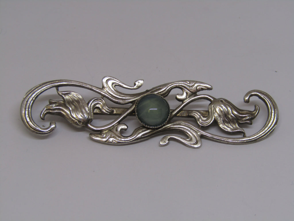 Silver Blue Gem Stone Brooch by Jess Lelong