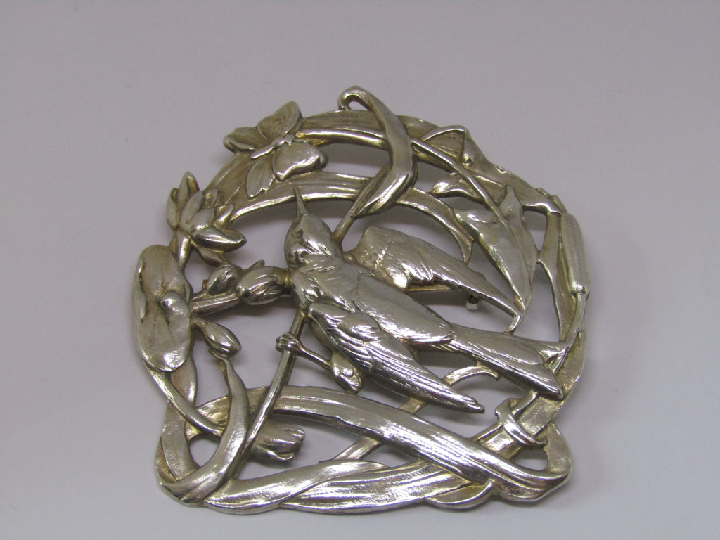Bird and Butterfly Silver Brooch by Jess Lelong